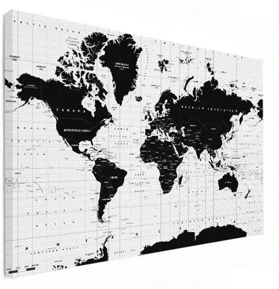 bol | wereldkaart zwart wit canvas - modern - groot 150x100 cm