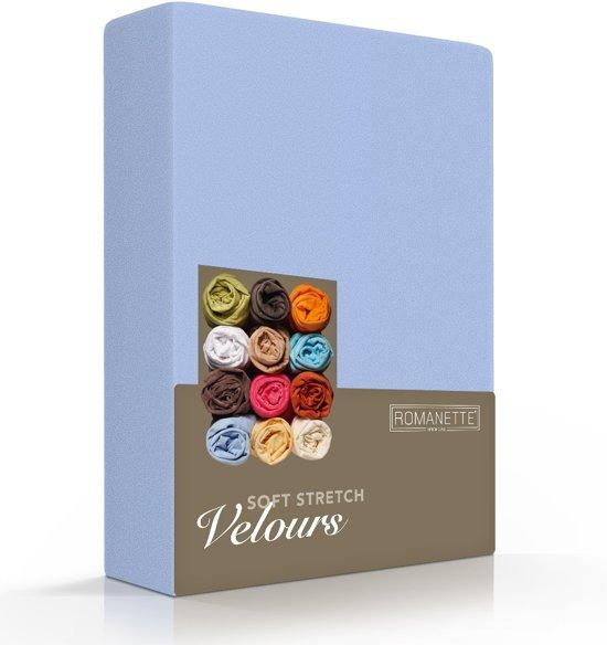 Fluweel Zachte Velours Hoeslaken Blauw | 140x210 | Super Comfortabel | Uitstekende Pasvorm