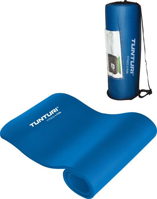 Tunturi NBR - Fitnessmat - Oefenmat met Draagtas - 180 cm x 60 cm x 1.5 cm -  Blauw