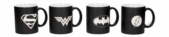 DC Comics: Justice League - 4 Laser Etched Black and White Mugs