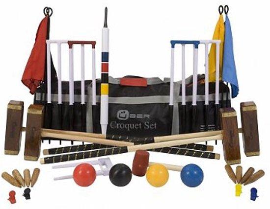 Championship Croquet Set - Wedstrijdset, 16 mm dikke stalen poorten, uit ECO hardhout met kunststof ballen