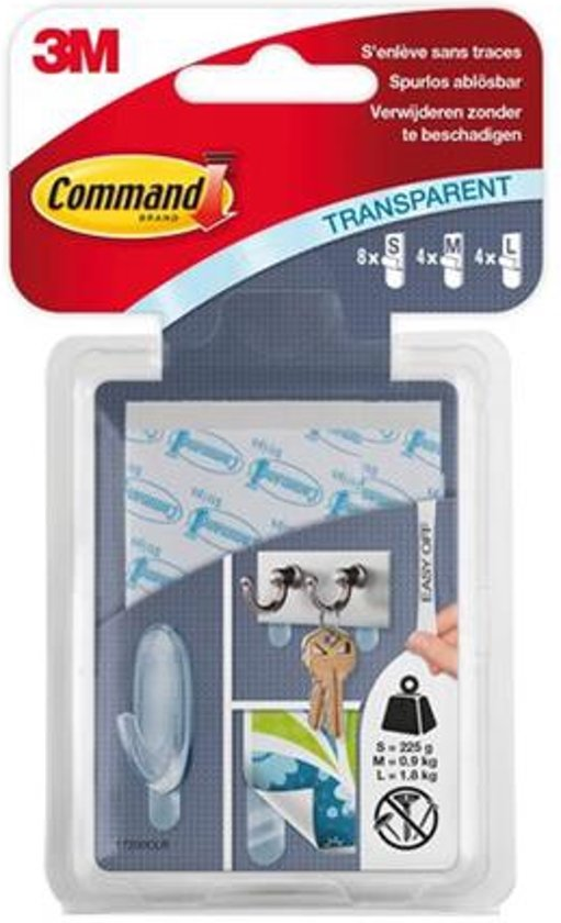 Command™ Strips, 17200CLR, transparant, 8 kleine + 4 middelgrote + 4 grote strips