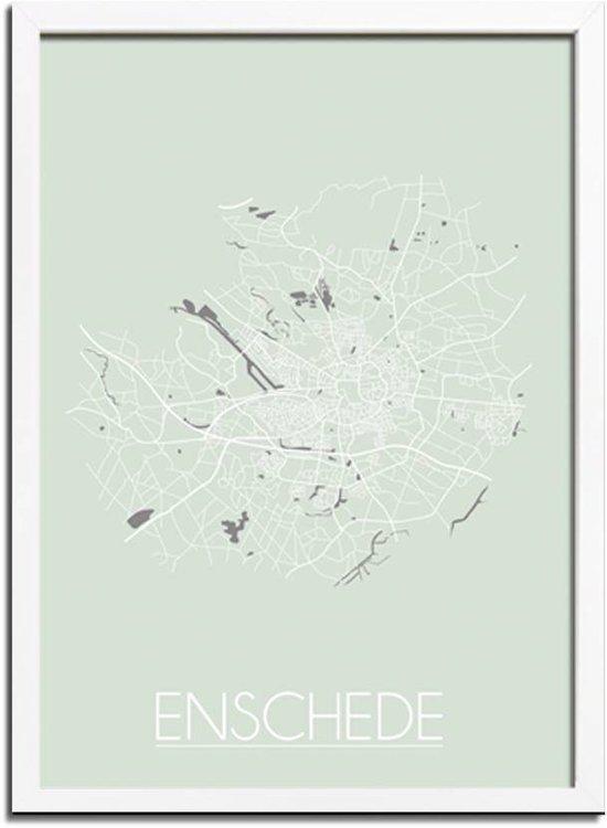 DesignClaud Enschede Plattegrond poster Pastel groen A3 + Fotolijst wit