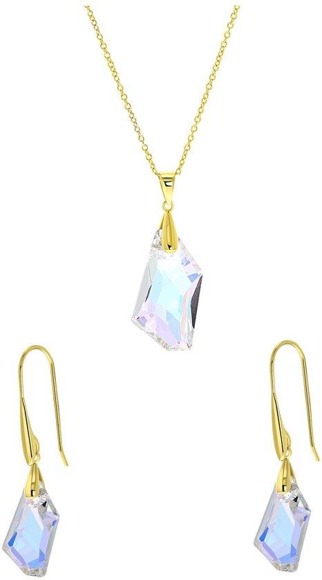 Lucardi - Zilveren set gold Swarovski kristal AB - maat 45