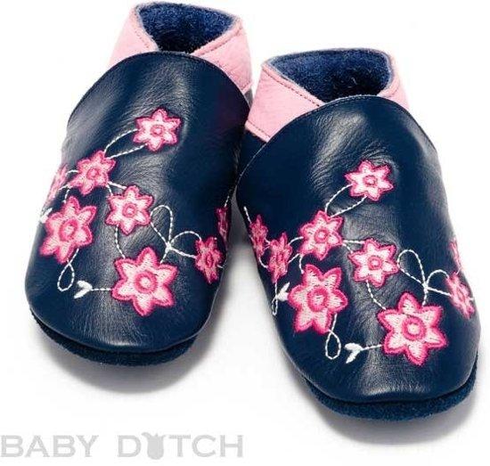 Babyslofjes blauw met bloem
