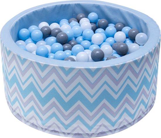 Ballenbak | Wit en blauwe strepen incl.  200 witte, grijze en blauwe ballen