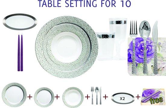 Deluxedisposables Luxe wegwerp Bruiloftserviesset - 10 personen - transparant-zilver - 114 delig