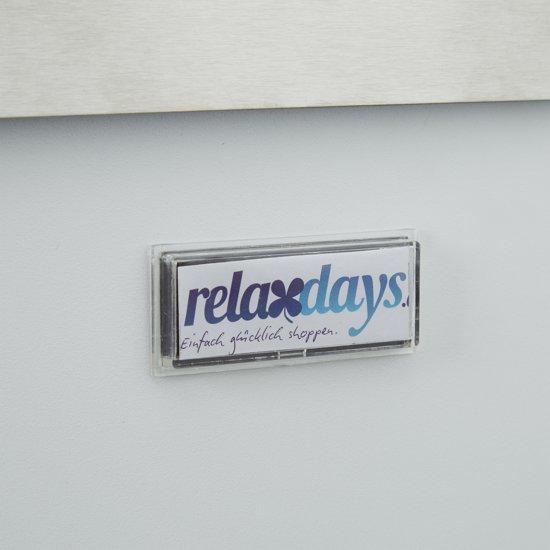 relaxdays brievenbus met krantenrol en naambord, roestvrij staal, modern ontwerp wit