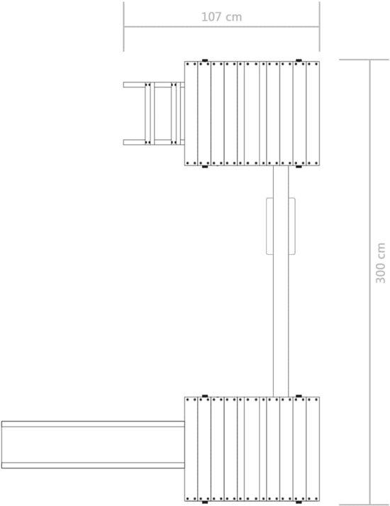 vidaXL Speelhuis ladder, glijbaan en schommel 300x197x218 cm FSC hout