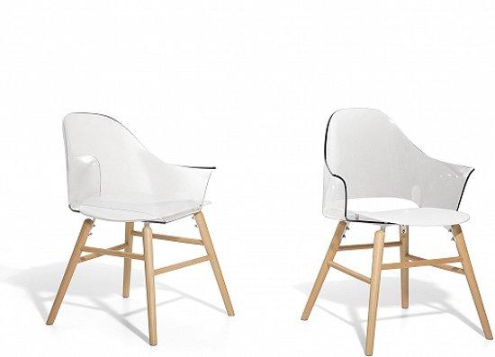 Witte Eetkamer Stoel : Bol stoel transparant wit eetkamerstoel kuipstoel boston