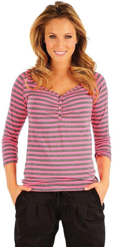 e7bae7c0079 bol.com | Dames t-shirt met v-hals met knoopjes en 3/4 mouwen grijs ...