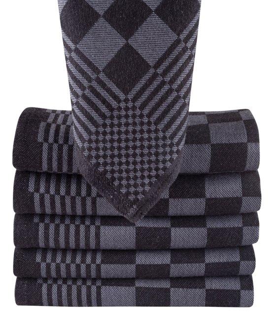 Homéé - Blokdoeken pompdoeken Theedoeken antraciet / zwart | set van 12 Stuks | 70x70cm