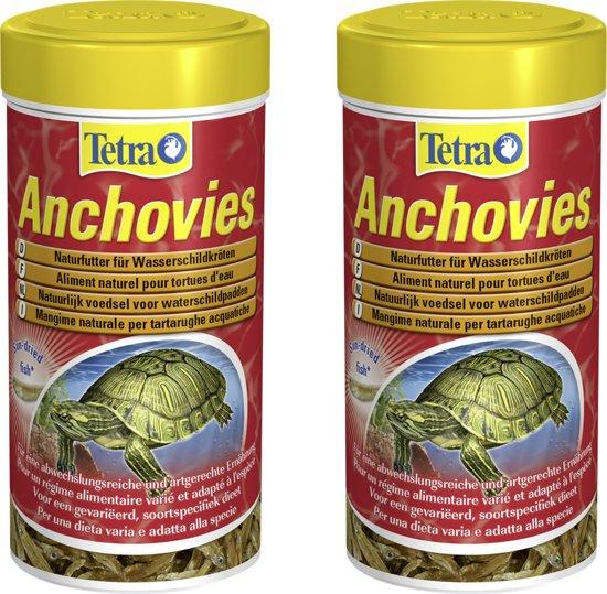 Tetra anchovies 250 ml gedroogde visjes voor schildpadden per 2 verpakkingen