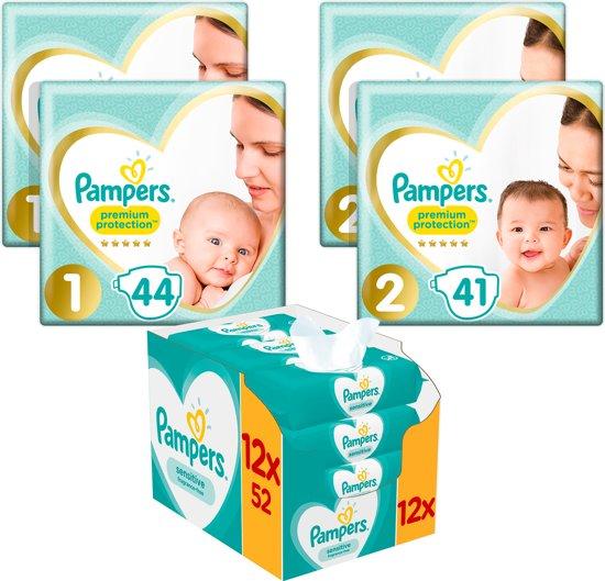 Pampers Premium Protection Startpakket - 88 luiers maat 1, 82 luiers maat 2 - 624 Sensitive Billendoekjes