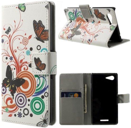 Butterfly wit wallet hoesje Sony Xperia E3