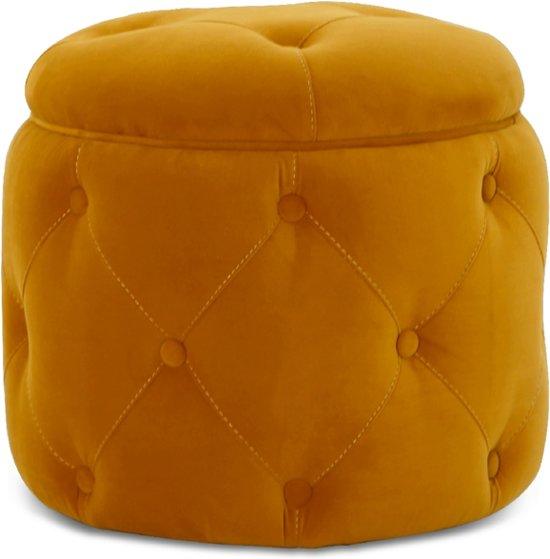 "Lanterfant Poef Henry â"" Velvet â"" Mooie knoopdetails â"" Spiced Honey"