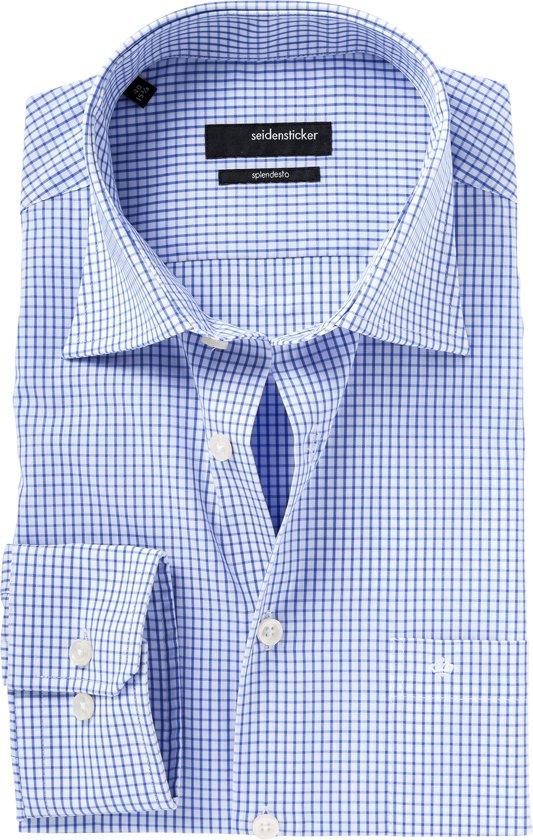 Maat 44 Overhemd.Bol Com Seidensticker Overhemd Modern Fit Ruit Patroon Blauw 44