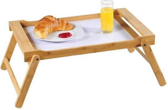 FSC® Bamboe Elegante inklapbare bedtafel met dienblad | Houten Bed tafel | Witte tafel | beddienblad | Ontbijt dienblad | Ontbijt op Bed | Afm. 59 x 33 x 24 Cm. | Kleur: BAMBOE / WIT