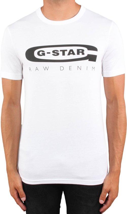 G-star T-Shirt Wit Met Zwart Logo (D15104 - 336 - 110) - XXL