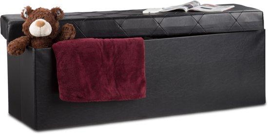 relaxdays Zitbank met opslagruimte - 114cm - kunstleer - voetenbank - opbergkist - bankje zwart