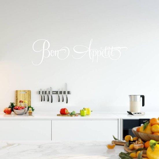 Muursticker Bon Appetit   Keuken   Muurtekst   Franstalig   Eet Smakelijk -  Wit -  80 x 22 cm  - Muursticker4Sale