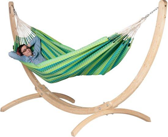 Hangmatset: 2-persoons hangmat Colombiana CAROLINA Spring + Standaard CANOA, geschikt voor 2-persoons hangmat