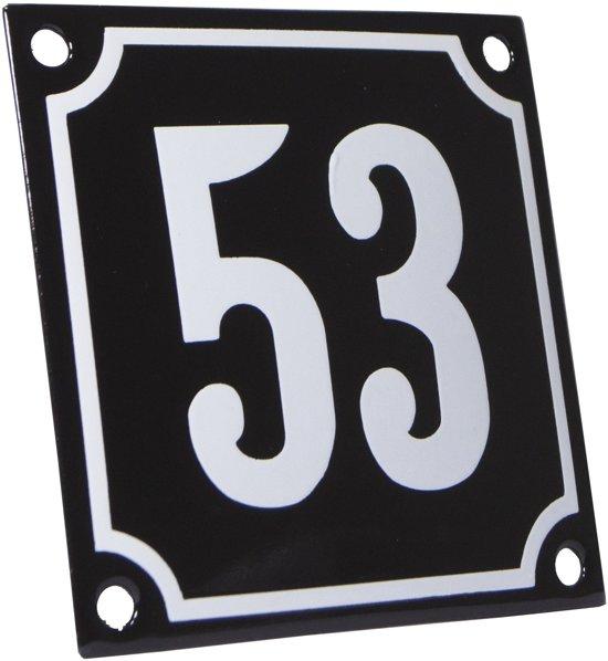 Emaille huisnummer zwart/wit nr. 53 10x10cm