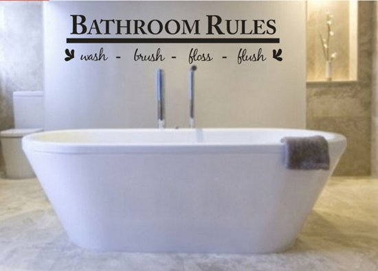 Bol muursticker bathroom rules zwart decoratie badkamer