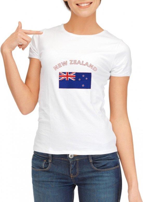 Wit dames t-shirt met vlag van Nieuw Zeeland S