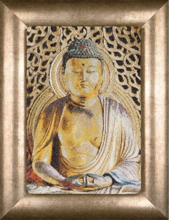 Thea Gouverneur Borduurpakket 532A Boeddha Buddha - Aida stof 100% katoen