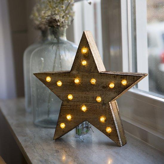 bol.com | Houten ster met LED verlichting - 30cm – 15 lampjes