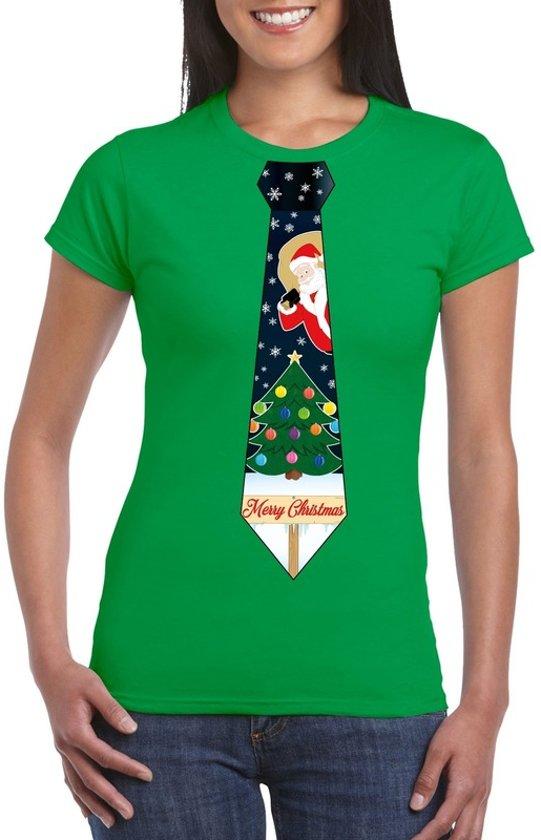 Groen kerst T-shirt voor dames - Kerstman en kerstboom stropdas print L