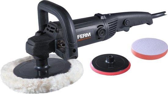 FERM AGM1084P Professionele Haakse Poetsmachine - 1400W - 180mm - Softgrip - Variabele snelheidsregeling -  Incl. Omvangrijke accessoire set