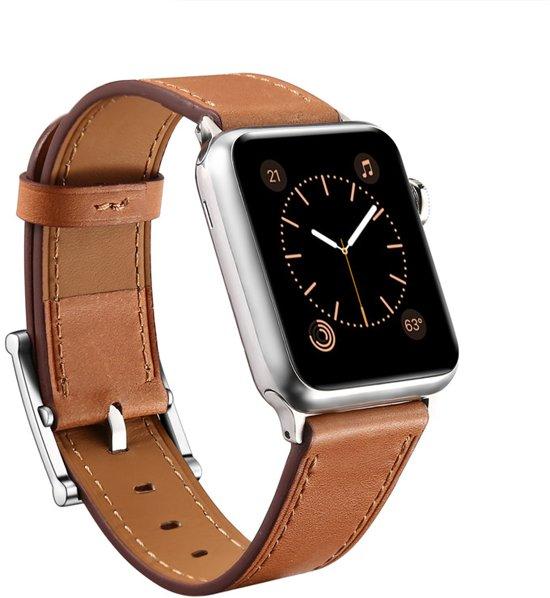 Luxe Lederen Bandje voor Apple Watch 42mm – Classic Leather Armband iWatch - Bruin