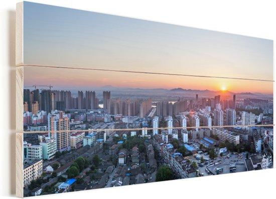 Zonsondergang in de Chinese stad Fuzhou Vurenhout met planken 40x20 cm - Foto print op Hout (Wanddecoratie)