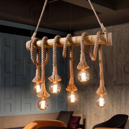Extreem bol.com | Touw Hanglamp Hout - 6 Lampen - Flexibel touw - Vintage @VQ37