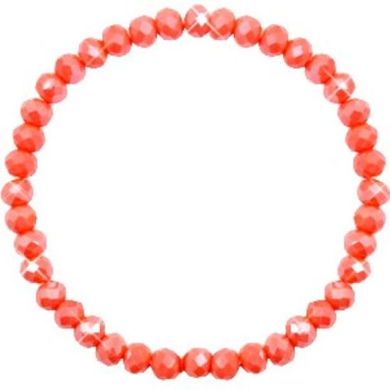 Facet armbandje Coral Orange 6x4
