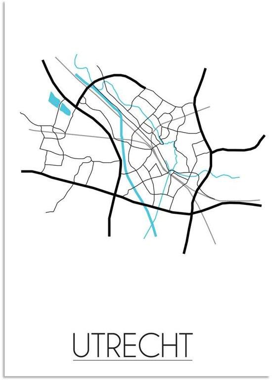 Plattegrond Utrecht Stadskaart poster DesignClaud - Wit - A3 Poster