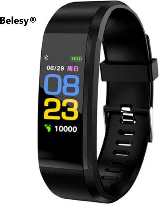 Tijdelijk LAAG GEPRIJST - Nieuw Belesy® Stappenteller - Model 2020 - bloeddrukmeter - calorieenverbuik - 3x sportmodus - Zwart