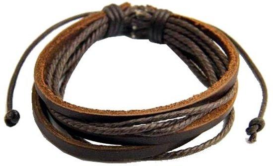 Fako Bijoux Armband Leder Multilayer - Heren - Bruin
