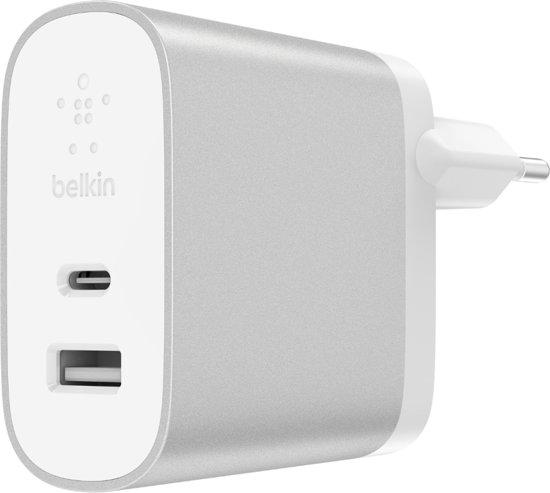 Belkin Thuislader Dubbele poort 27W + 12W USB-C naar USB- A  - Zilver