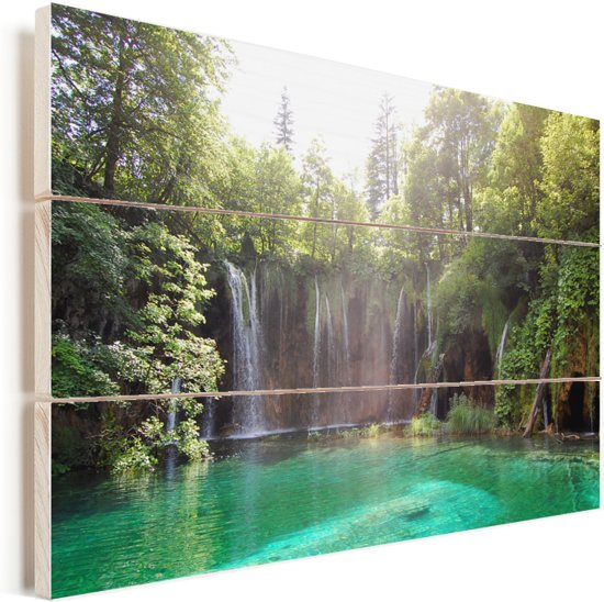 Helder groen water bij het Nationaal park Plitvicemeren in Kroatië Vurenhout met planken 30x20 cm - klein - Foto print op Hout (Wanddecoratie)