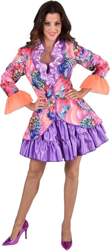 Hippie Kostuum | Kunstzinnige Aquarel Bloemen Jas Vrouw | XL | Carnaval kostuum | Verkleedkleding