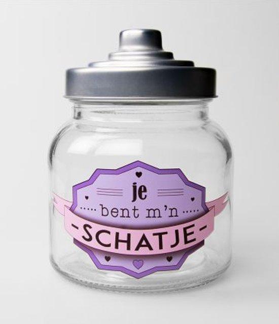 Valentijn - Snoeppot - Schatje - Gevuld met luxe verpakte toffees - In cadeauverpakking met gekleurd lint