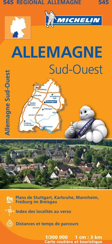 Michelin 545 Allemagne Sud-Ouest - Zuidwest-Duitsland