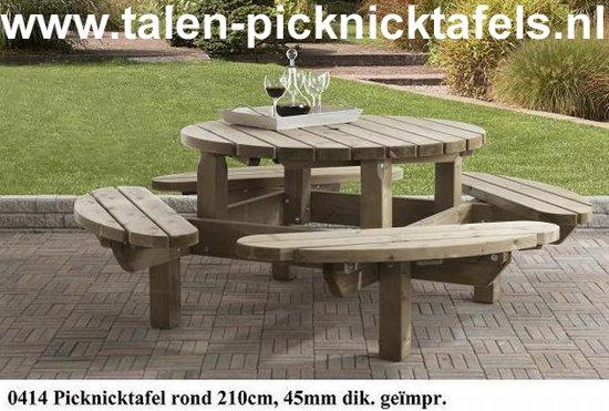 Ronde Houten Picknicktafel.Bol Com Van Talen Picknicktafel Rond 8 Personen Vuren 210 Cm