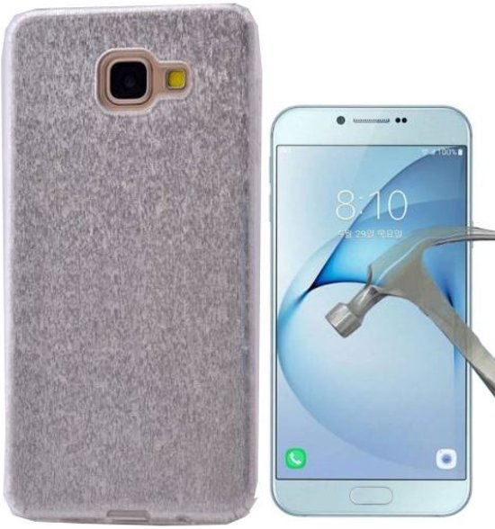 Teleplus Samsung Galaxy A810 2016 Silvery Custom Made Silicone Case Silver + Glass Screen Protector hoesje