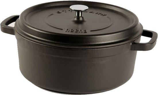 Franse Gietijzeren Braadpan.Cuisinova Braadpan Gietijzer 5 5 Liter 28 Cm Zwart