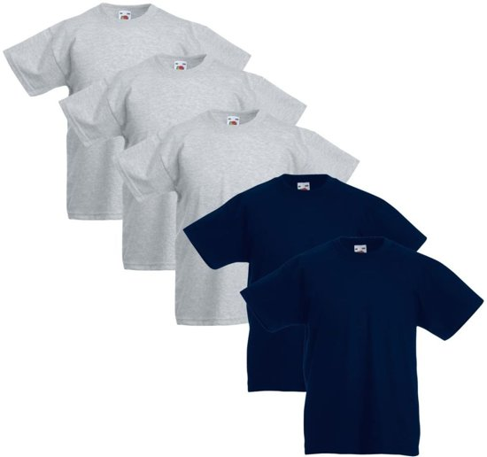 Fruit of the Loom Kinder t-shirts origineel grijs/marineblauw maat 128 5 st
