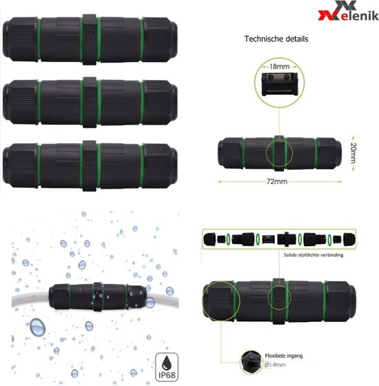 bol.com | Set 3x waterdichte kabelverbinder - IP68 Elenik